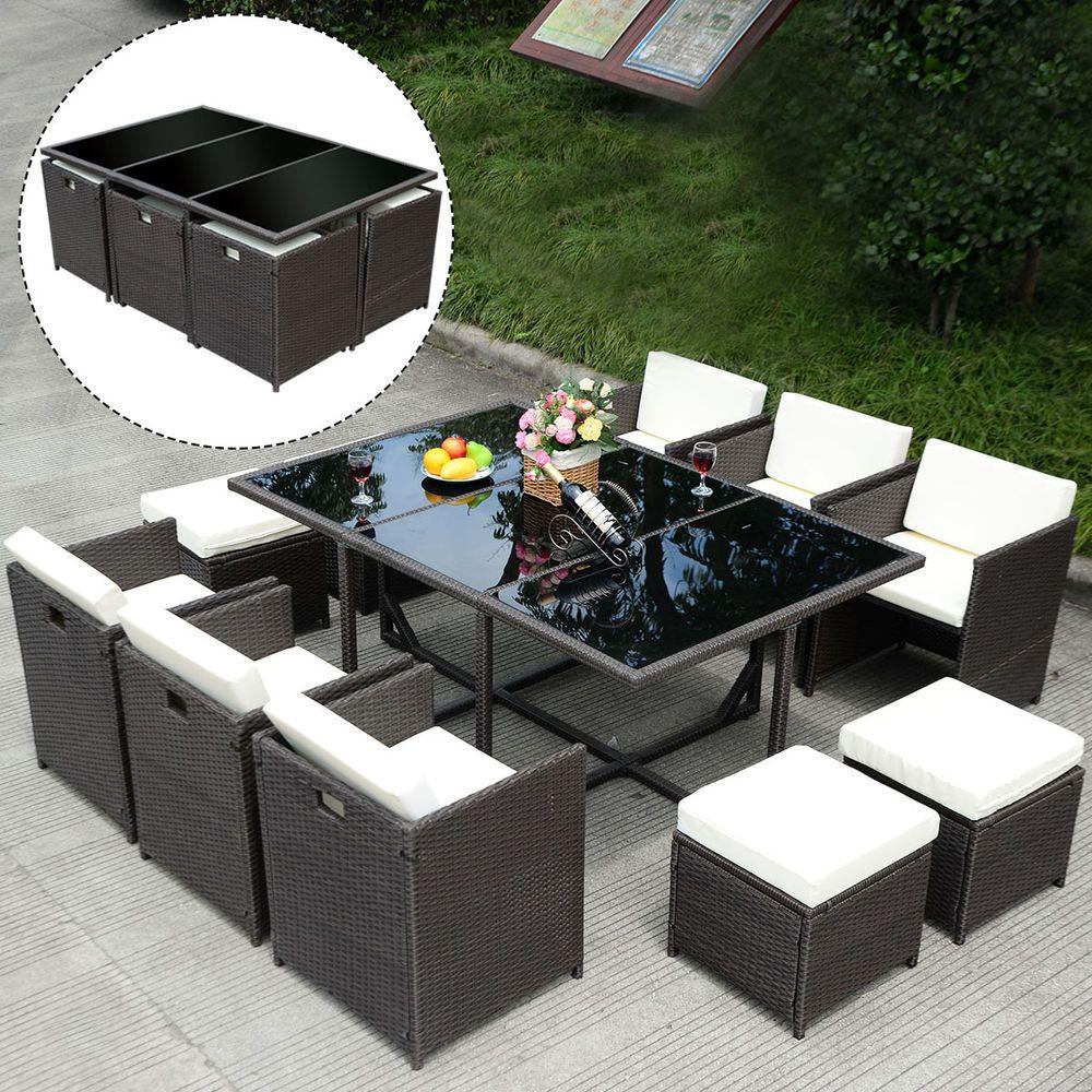 pcs outdoor patio dining set metal rattan wicker furniture garden