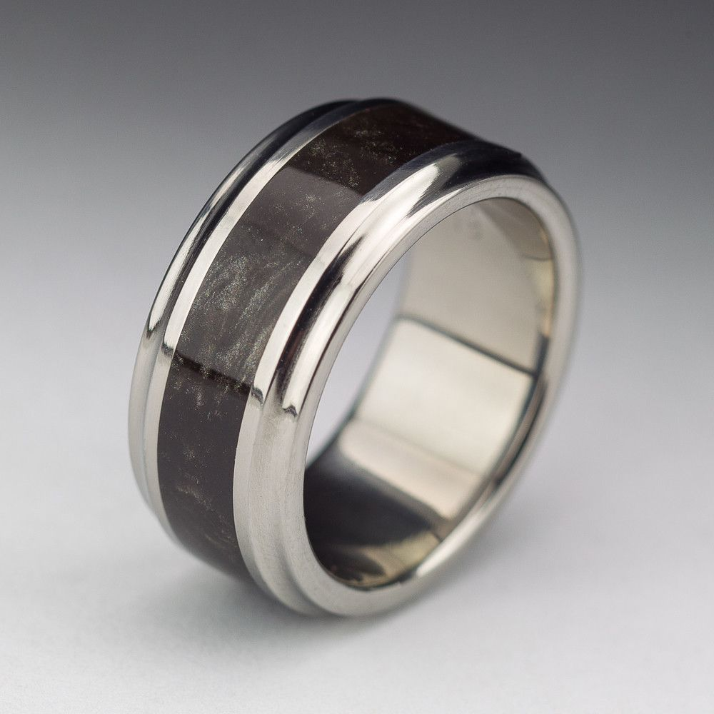 Titanium Wood Tone Burl Mens Wedding Band Obsidian Wedding stuff