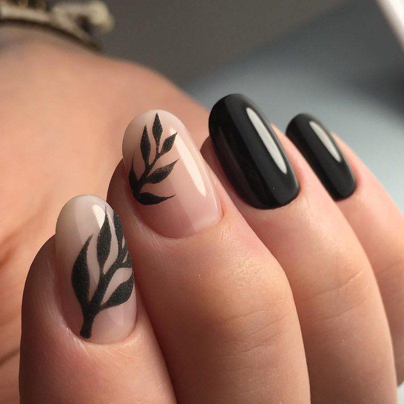 Nude + negro + hojas + mano alzada + detalles en negro | nails + ...