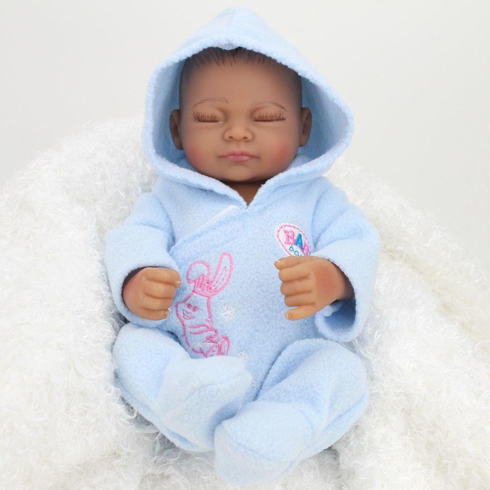 Kaydora 10 Inch 25cm Full Silicone Reborn Baby Dolls Lifelike African American Real Dolls Realistic Mini Lol Bebe Reborn Babies Silicone Reborn Babies Baby Doll Toys Silicone Baby Dolls