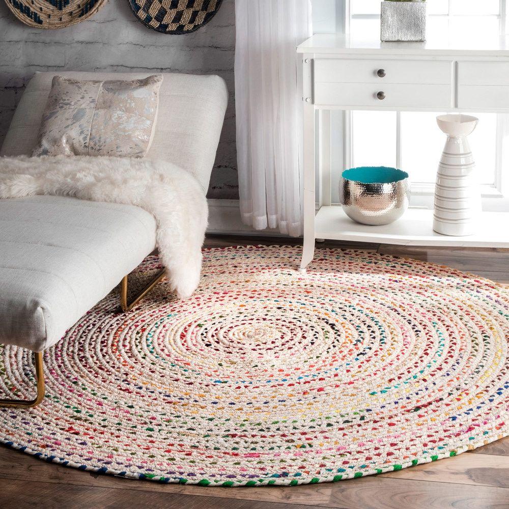 Braided Rug For Living Room: NuLOOM Handmade Braided Bohemian Ivory Round Rug (8' Round