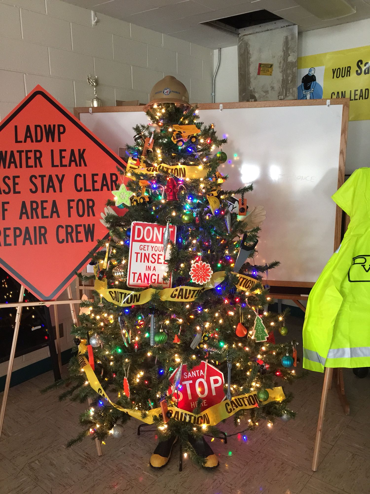 Construction Theme Christmas Tree Office Christmas Decorations Office Christmas Christmas Trees For Kids