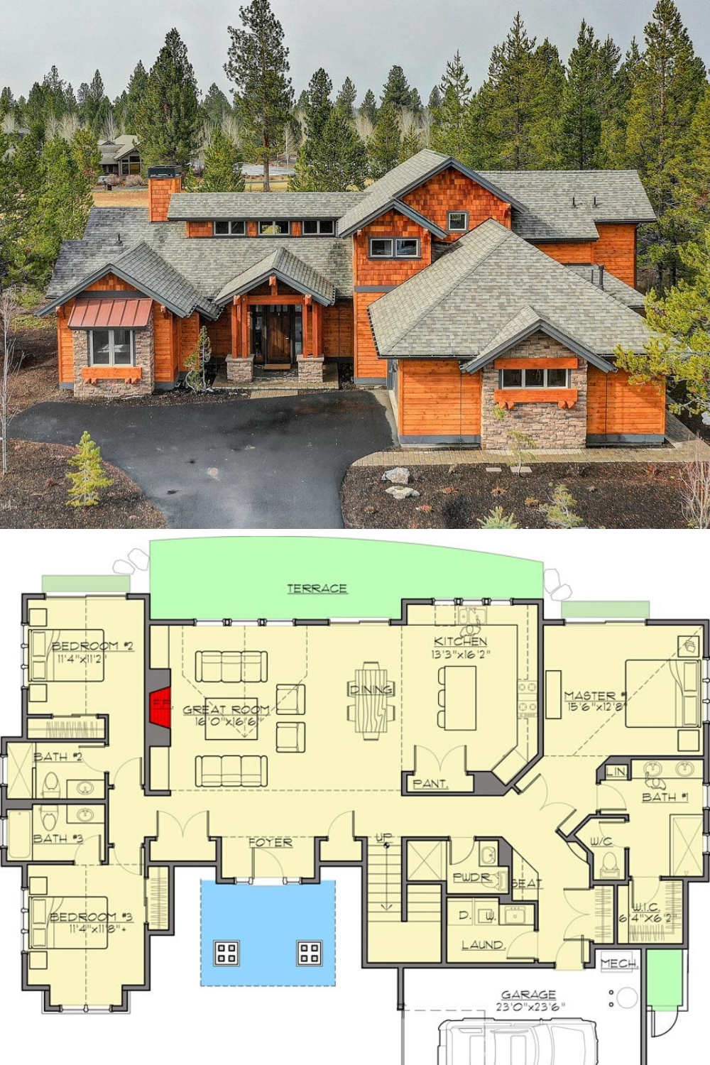 4 Bedroom Two Story Mountain Craftsman Home With Vaulted Upstairs Floor Plan Craftsman House Plans Craftsman House Mountain Home Exterior