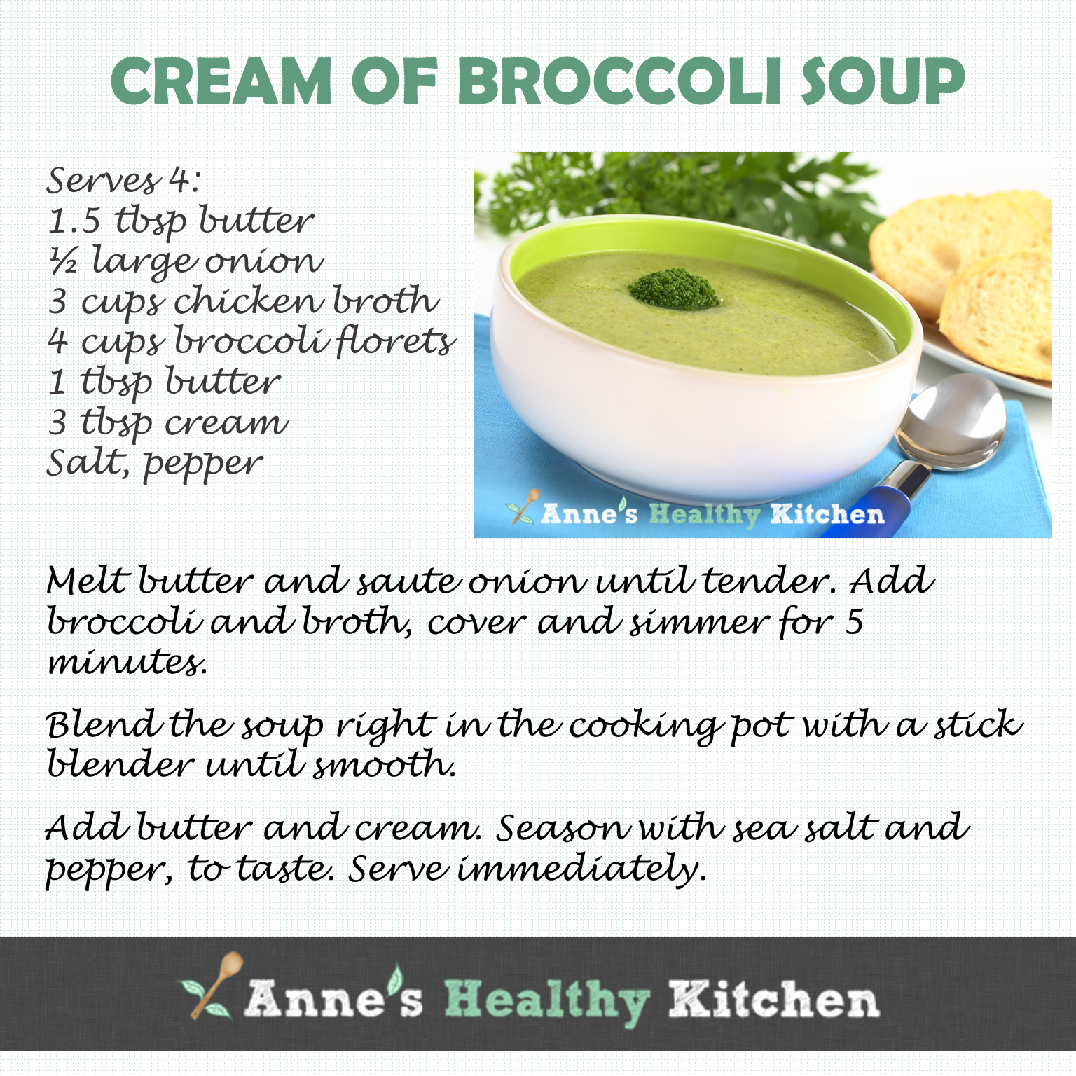 Recipe Card Cream Of Broccoli Soup You Can Get The Full Here