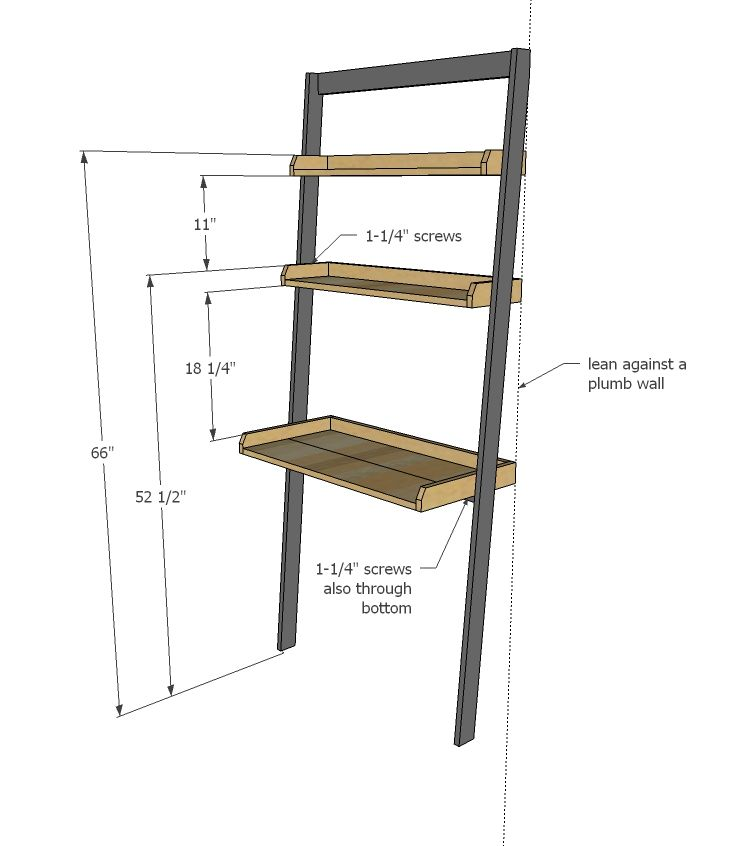 Ana White  Build a Leaning Wall Ladder Desk  Free and