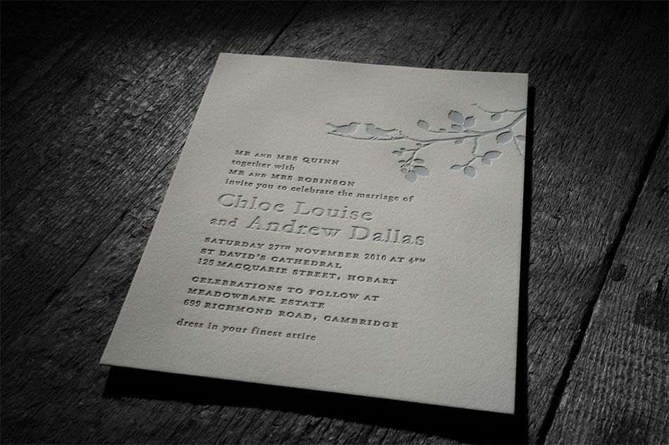Letterpress Wedding Invitations Chapel Press