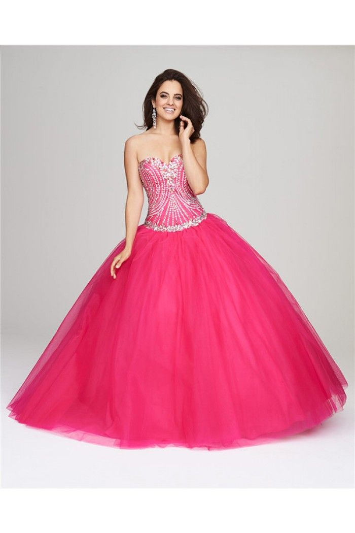 Gorgeous Ball Gown Neon Pink Tulle Beaded Corset Quinceanera Prom ...