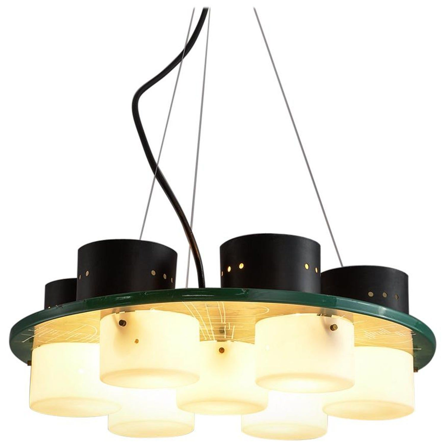 Italian Ceiling Light with Six Shades