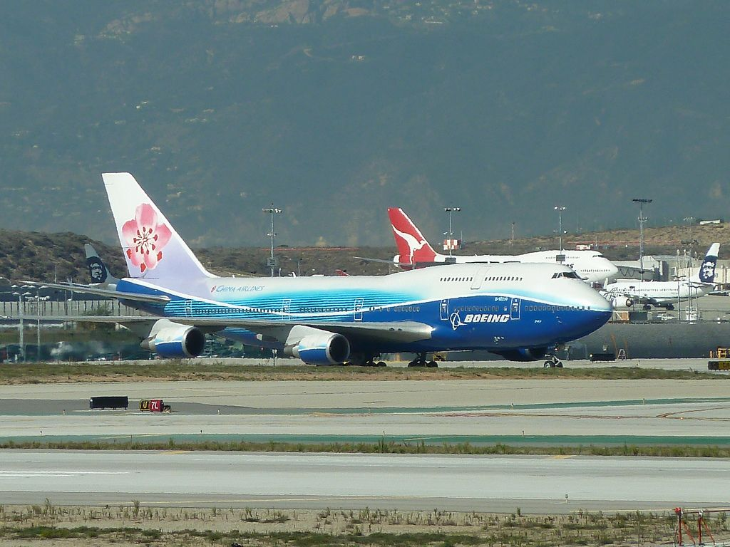 China Airlines jet at LAX in Los Angeles, CA. China