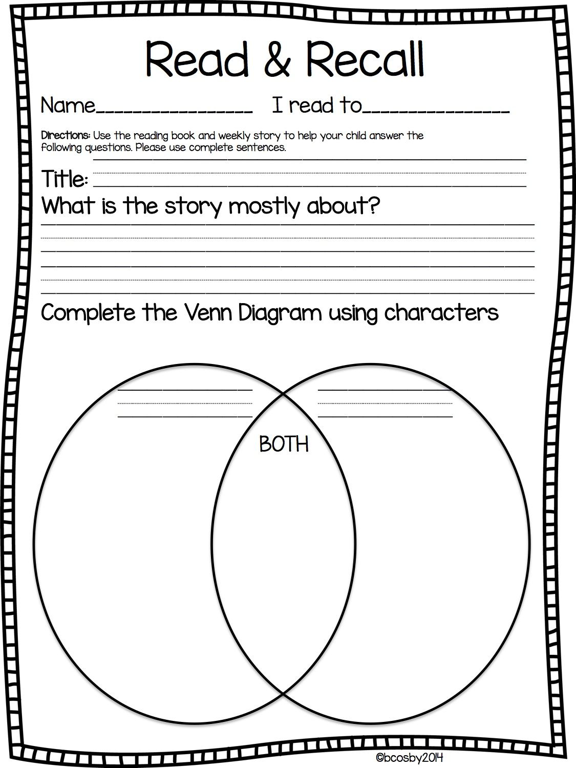 Read Amp Recall Comprehension Graphic Organizer