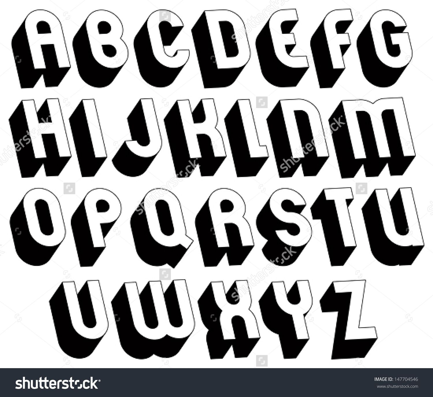 Black And White 3d Font Single Color Simple And Bold Letters