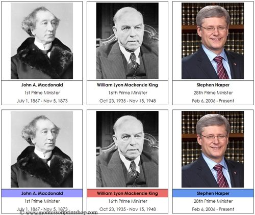 Canadian Prime Ministers: 28 Canadian Prime Ministers (in a 3-part card format), includes a second set with party colors