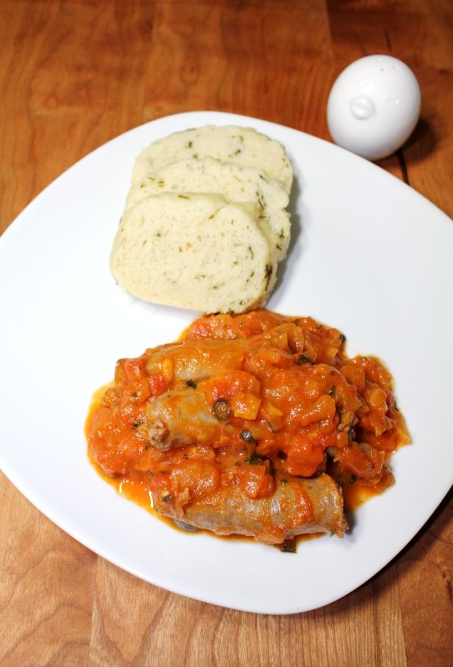 Herbed Ujeqe (Maize Meal Bread) with Tomato Relish & Boerewors (South African)