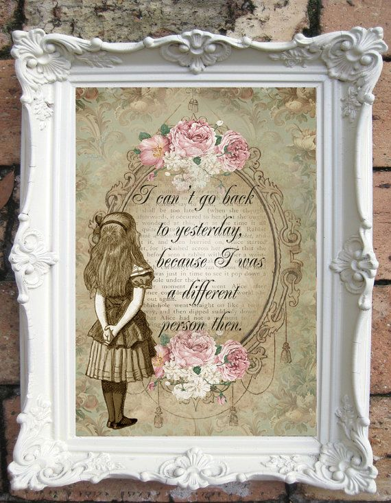 Alice In Wonderland Quote Art Print Shabby Chic By Oldstyledesign 15 00