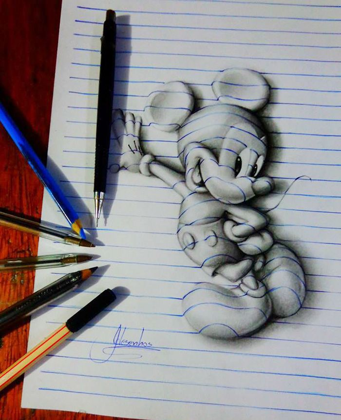 Los Doodles 3d De Este Artista Brasileno De 16 Anos Dibujos 3d A Lapiz Dibujos 3d Como Dibujar En 3d