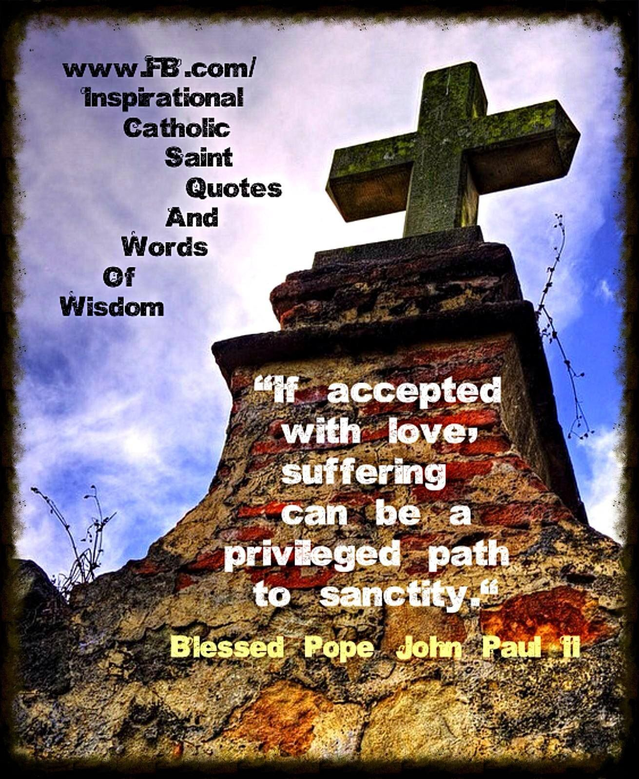 """""""If accepted with love, suffering can be a privileged path to sanctity."""" ~ Blessed Pope John Paul II"""