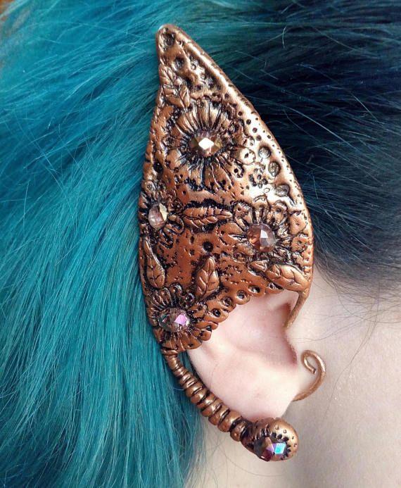 Elf ear cuff / Polymer clay ear cuff / Copper wire ear cuff / Elven ...