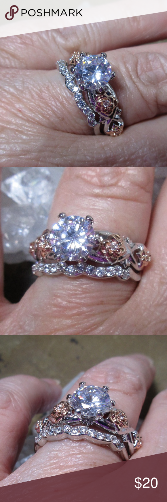 White & rose gold plated wedding ring set Sz 79 Wedding