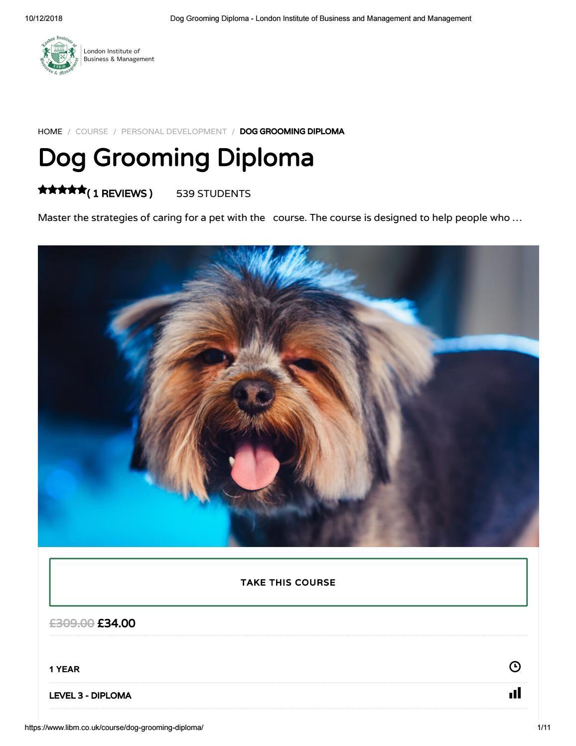 Dog Grooming Diploma Libm Dog Grooming Dogs Pets