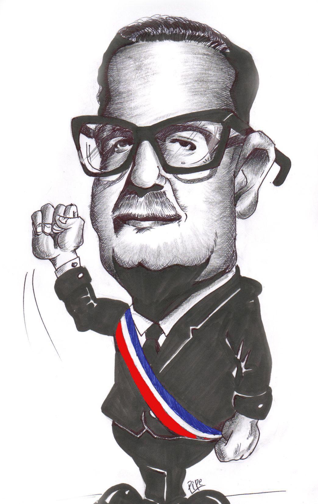 Caricature De Salvador Allende Con Imagenes Salvador Allende El Salvador Salvador Allende Gossens