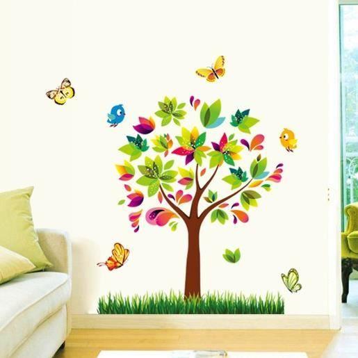 Mouton maison decoSticker mural Enfant arbre oiseaux et papillons - stickers chambre bebe garcon pas cher
