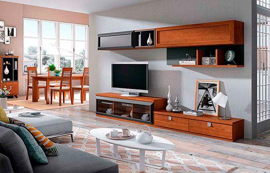 Color cerezo deco salon muebles color cerezo cerezo y - Muebles grises paredes color ...