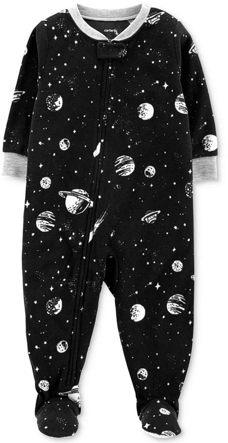 a355a95f7120 Carter s Baby Boys Space-Print Fleece Footed Pajamas - Black 24 ...