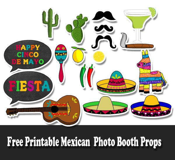 Free Printable Mexican Fiesta Photo Booth Props Paper In 2019