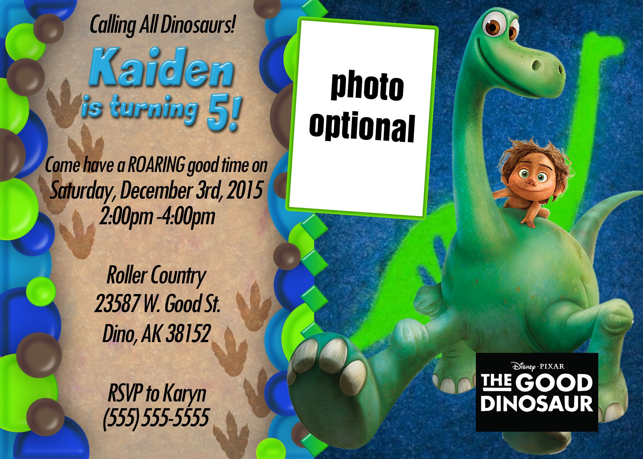 The Good Dinosaur 2 Birthday Invitation