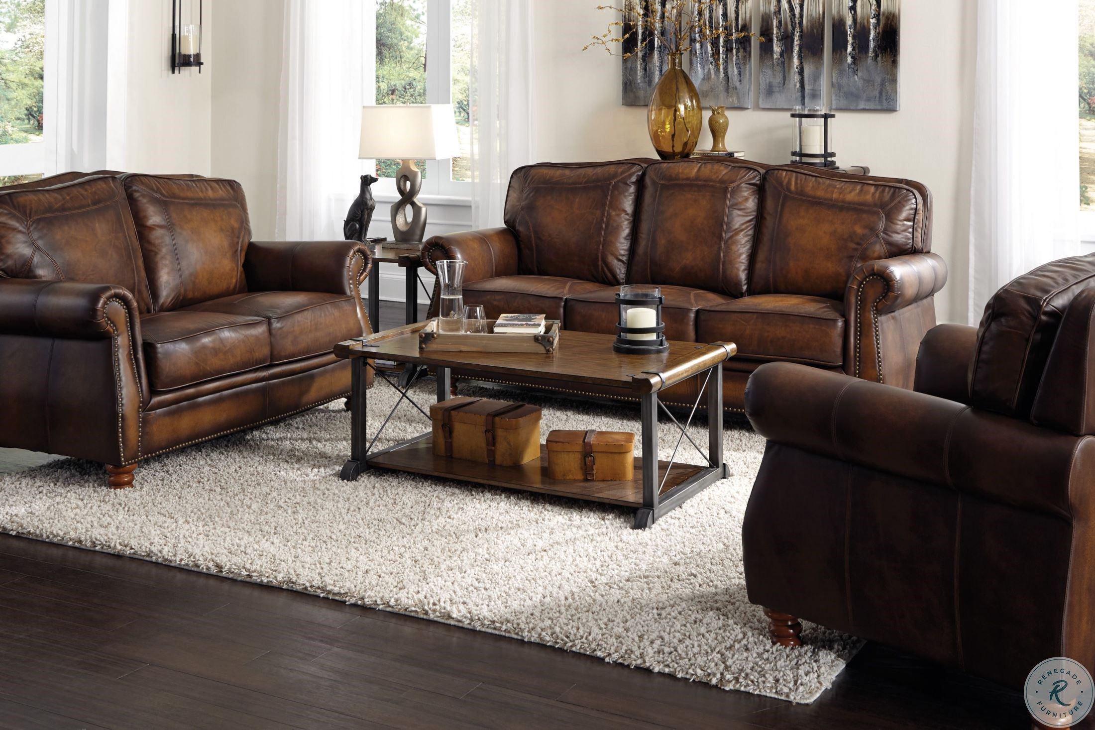 Montbrook Hand Rubbed Brown Leather Living Room Set In 2021 Leather Sofa Living Room Leather Couch Living Room Decor Leather Living Room Set