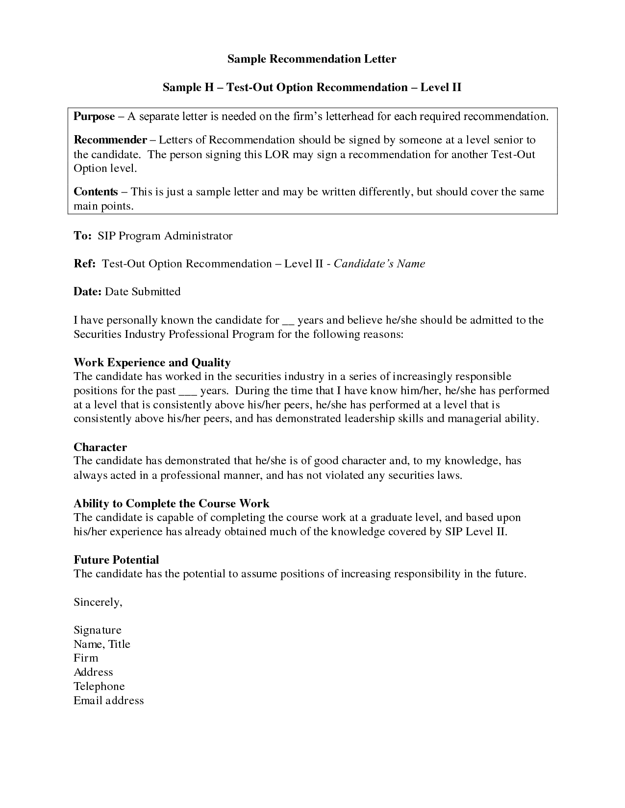 Sample Letter ExampleReference Letter