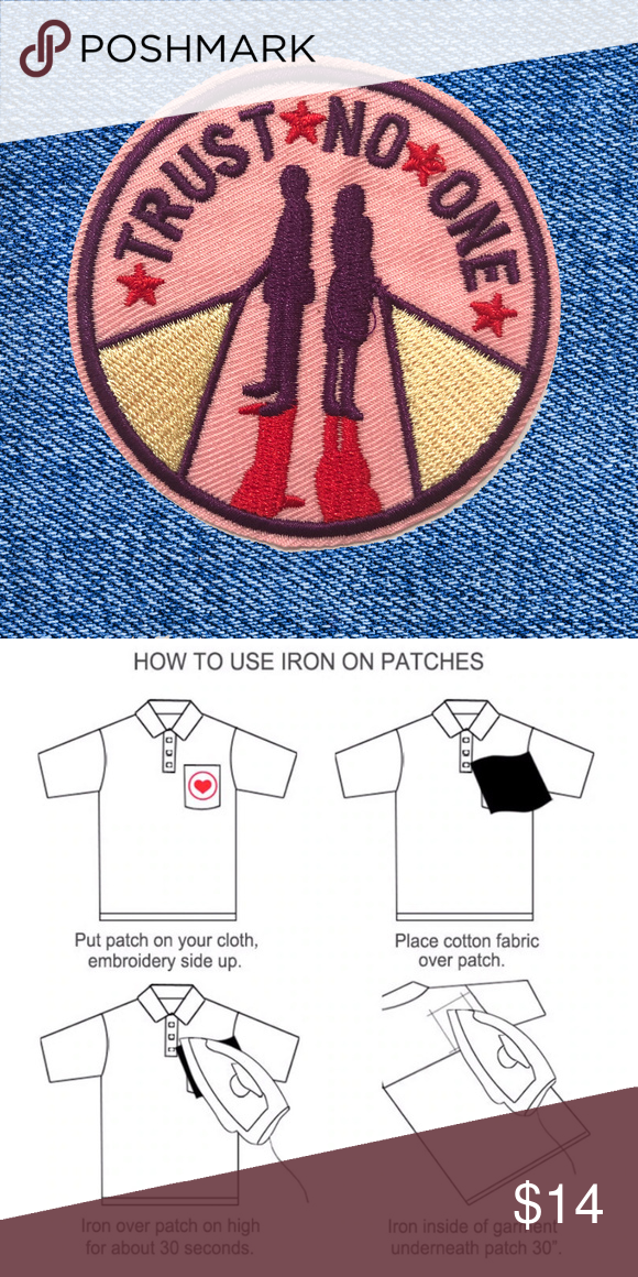 2for 20 Trust No One Diy Iron On Patch Iron On Patches Diy Embroidery Art Patches