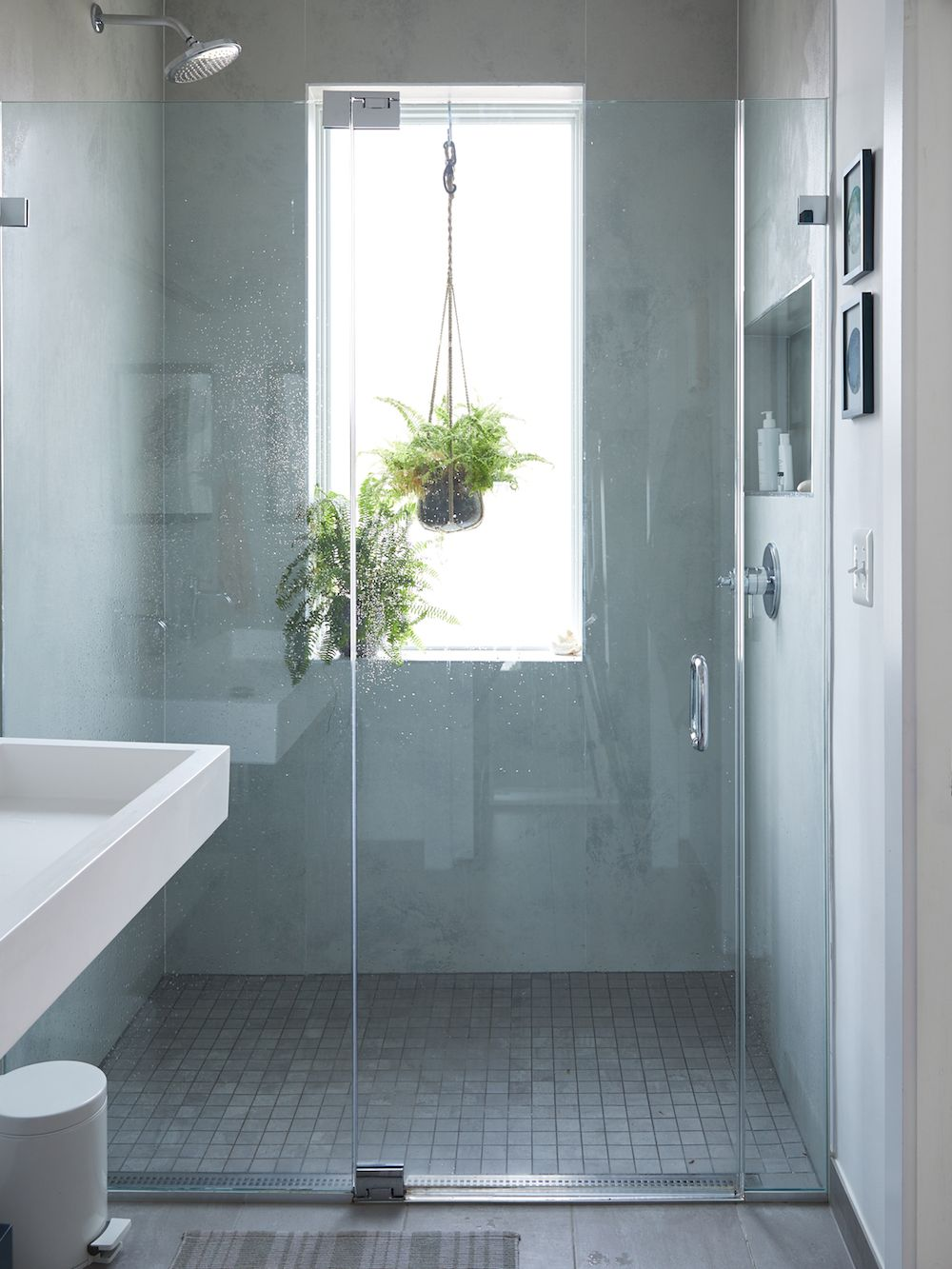 A D C Home Inspired By Ocean Blues A Cup Of Jo Window In Shower Bathroom Inspiration Small Bathroom