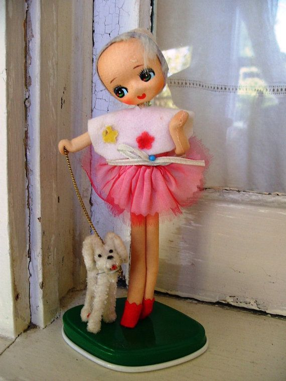 Vintage Pose Doll with Poodle Made in Japan by theturniptruck, $22.00