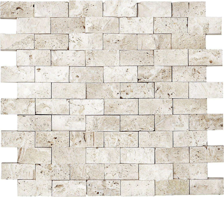Anatolia Tile Ivory Brick Mosaic Natural Stone Travertine