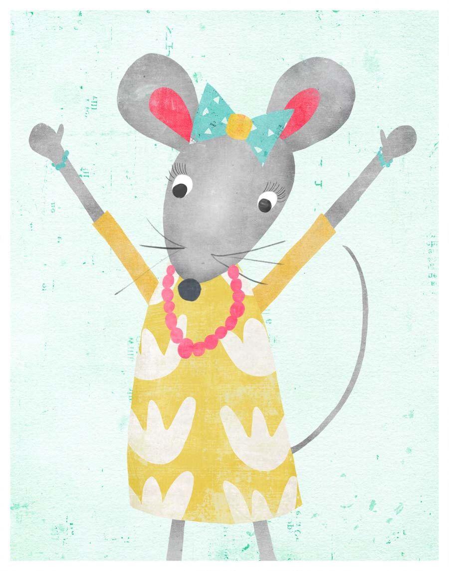 Happy Mice, Mouse Themed Room, Wall Art Animal Art Girl Nursery ...
