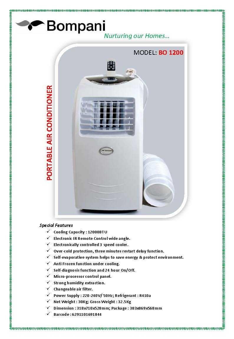 AED 1350/ Bompani Portable Airconditioner (BO 1200) Buy