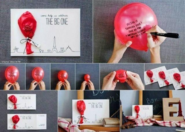kindergeburtstag feiern einladung basteln idee luftballon, Einladung