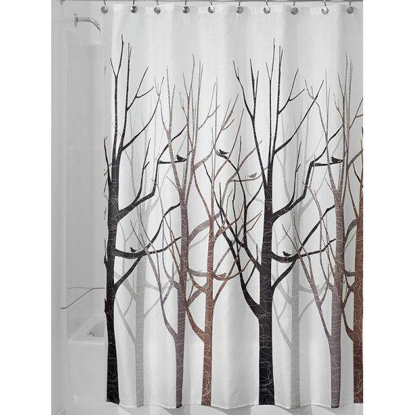Forest Print Polyester Waterproof Bath Shower Curtain Fabric