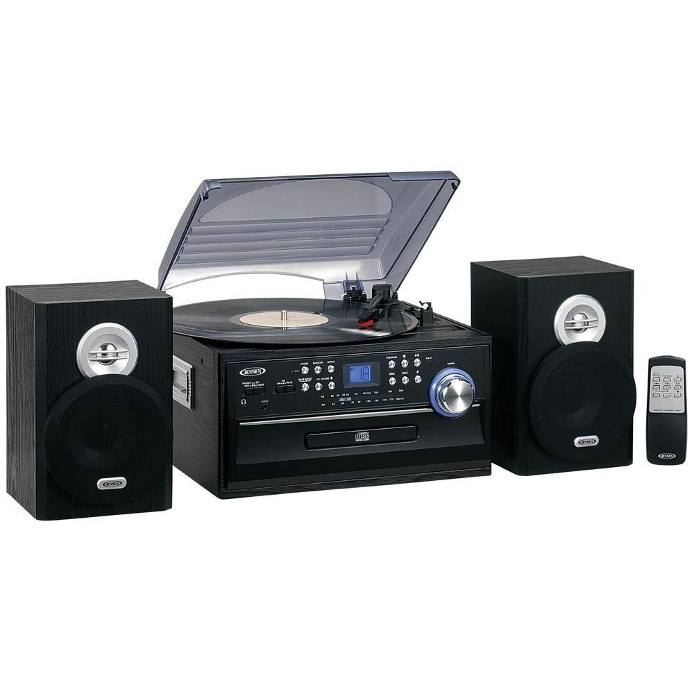 JENSEN 3-Speed Stereo Turntable Music System with CD/Cassette and AM/FM Radio-JTA-475B - The Home Depot