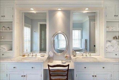 bathroom vanity addl makeup area oak
