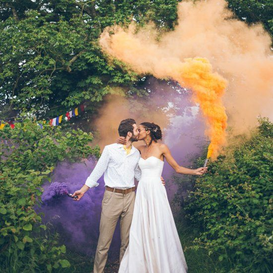 this wedding day is filled with smoke bombs an outdoor