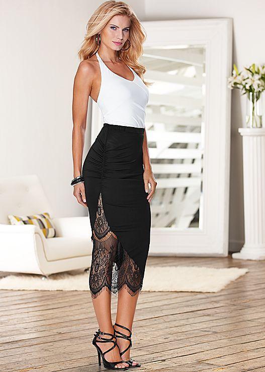 Halter bodysuit, lace midi skirt, strappy heel by VENUS