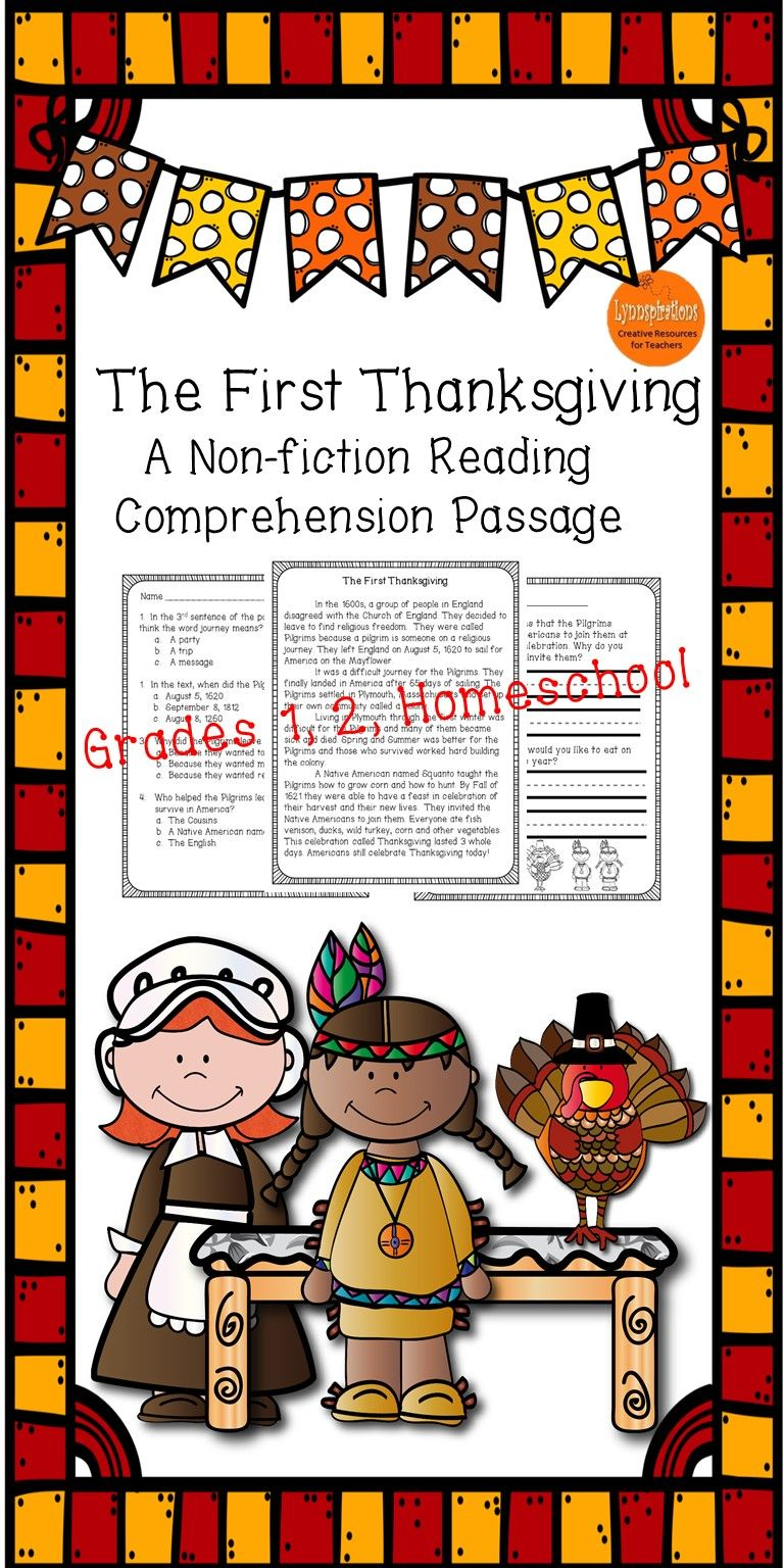 The First Thanksgiving A Non Fiction Reading Comprehension Passage Reading Comprehension Reading Comprehension Passages Comprehension Passage [ 1536 x 768 Pixel ]