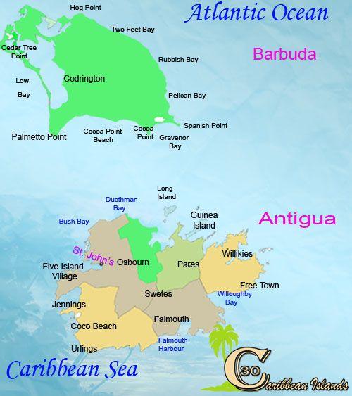 Antigua And Barbuda Antigua And Barbuda Spanish For Ancient - Antigua barbuda map caribbean sea
