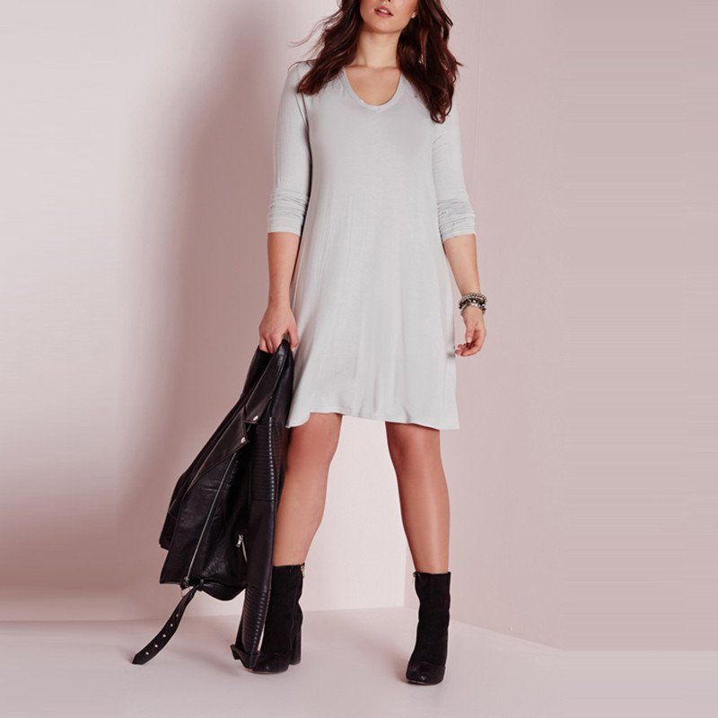 Bohemian Casual Loose Long Sleeve Dress Boho Plus Size Dresses