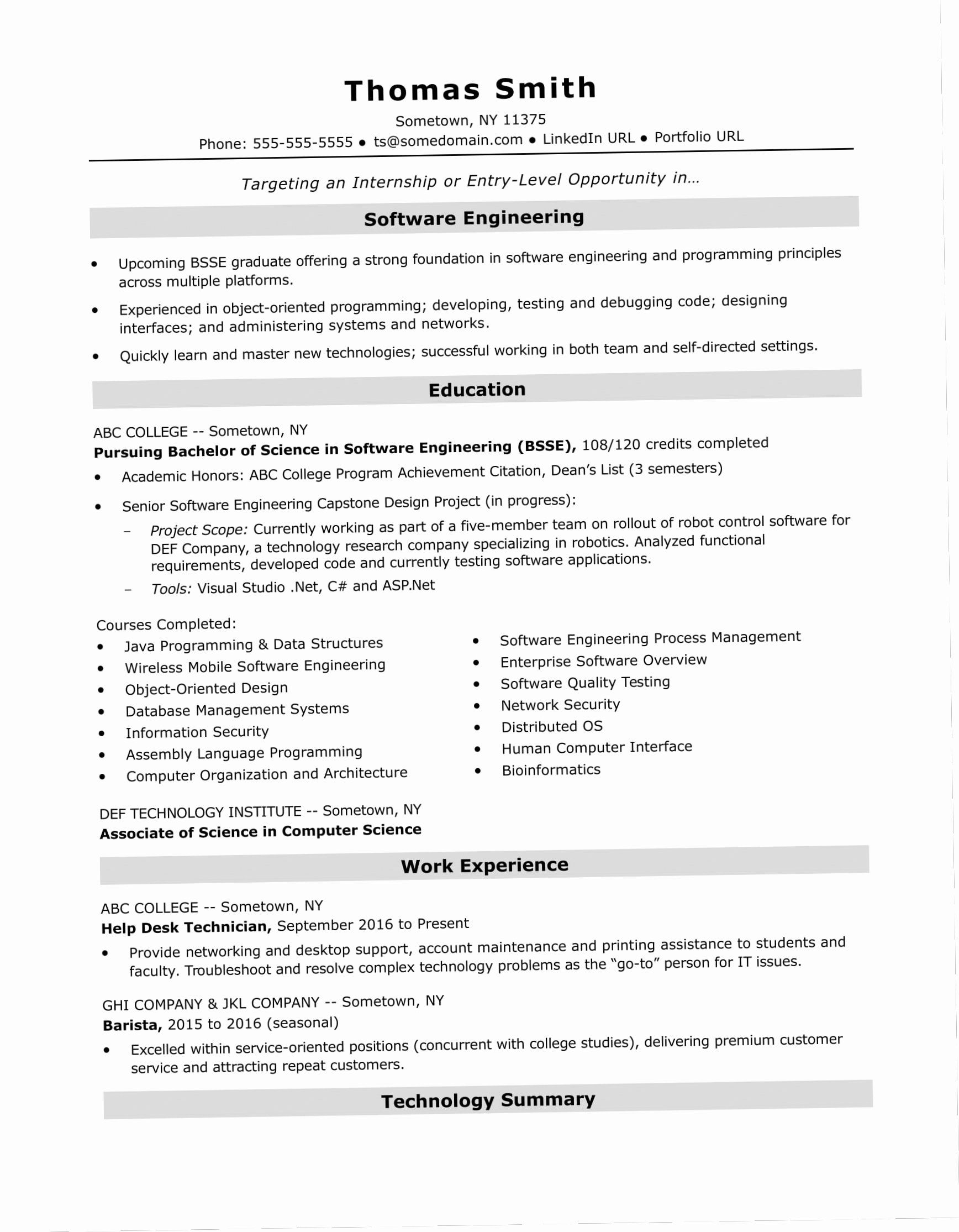 entry level software engineer resume new 12 13 programming