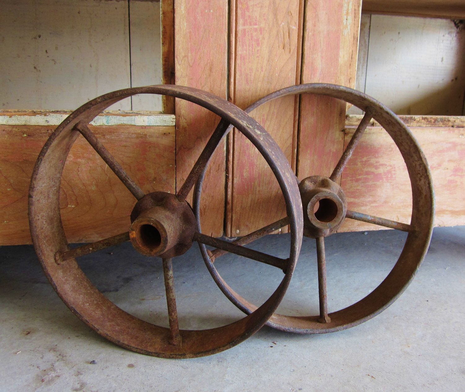 Antique Cast Iron Wagon Wheels Rustic Country Western Primitive
