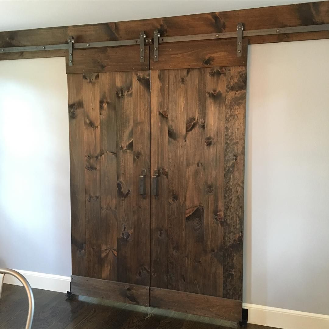 Two Gorgeous Plank Design Barn Doors Stained In Minwax Dark Walnut That We Made Interior Barn Doors Barn Door Custom Barn Doors