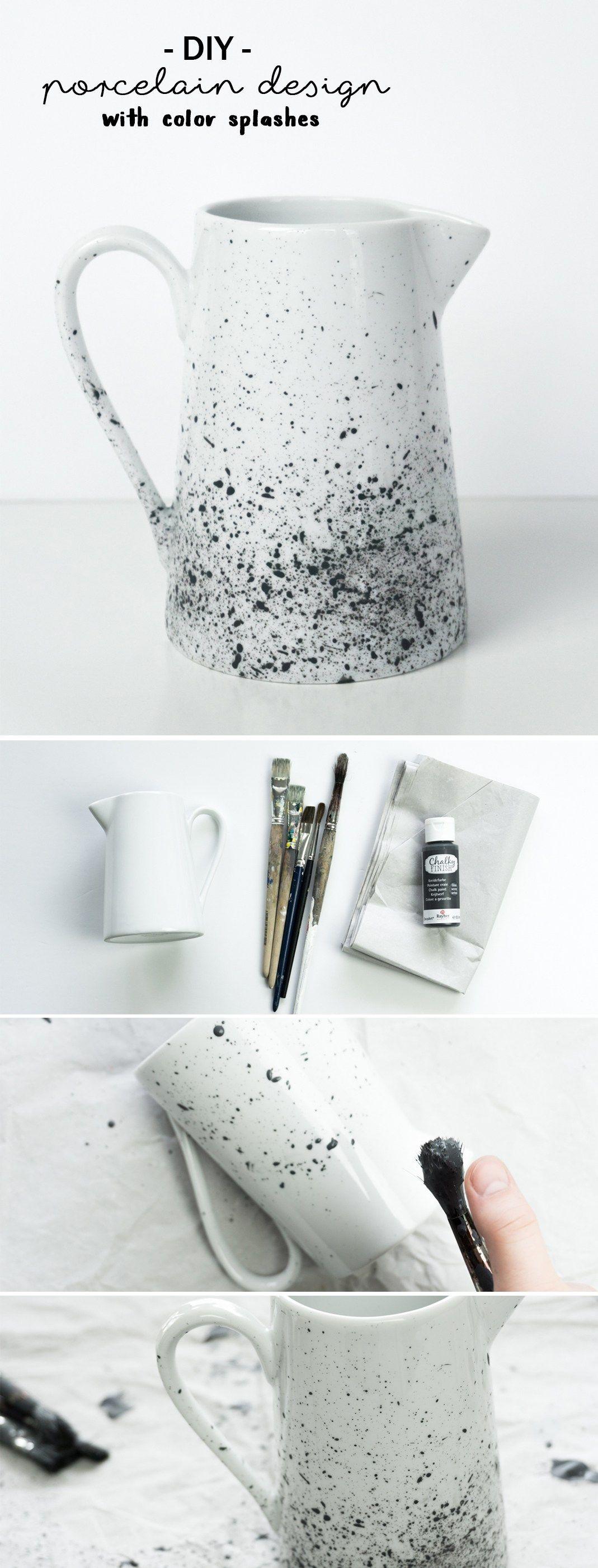 DIY Porzellan mit Farbspritzer gestalten - Tutorial/Anleitung